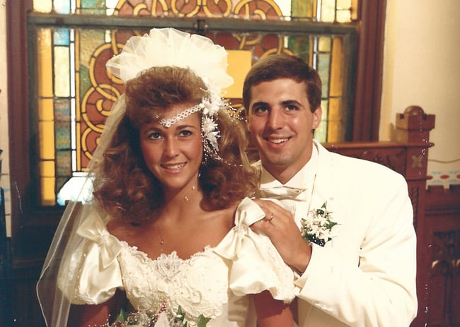 Sue and Mike at their wedding in 1989.
