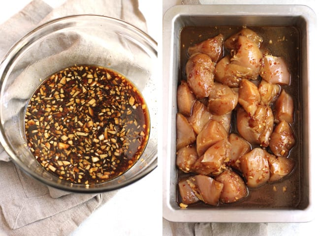 Overhead process shots of 1) the asian chicken marinade, and 2) the marinated chicken in a pan.