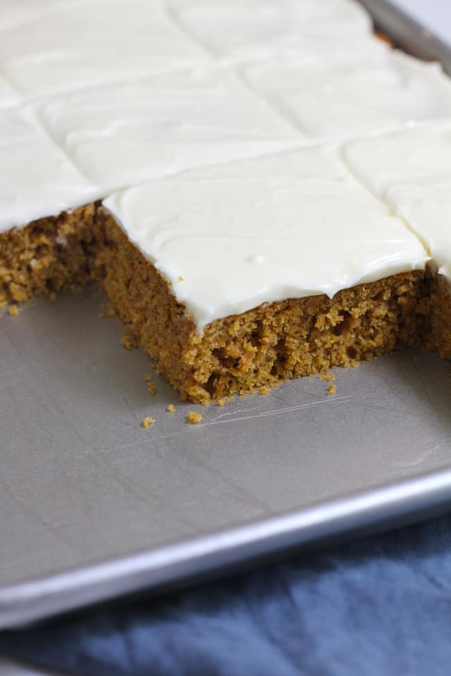 Side shot of a partial pan of pumpkin cake with cream cheese frosting, on a blue napkin.