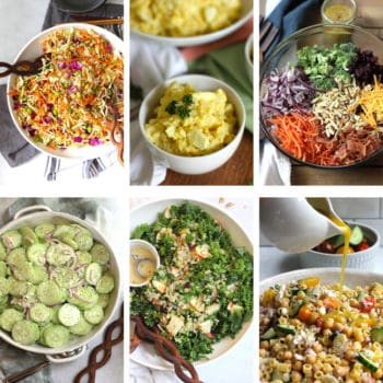 A collage of six summer salads for potluck.