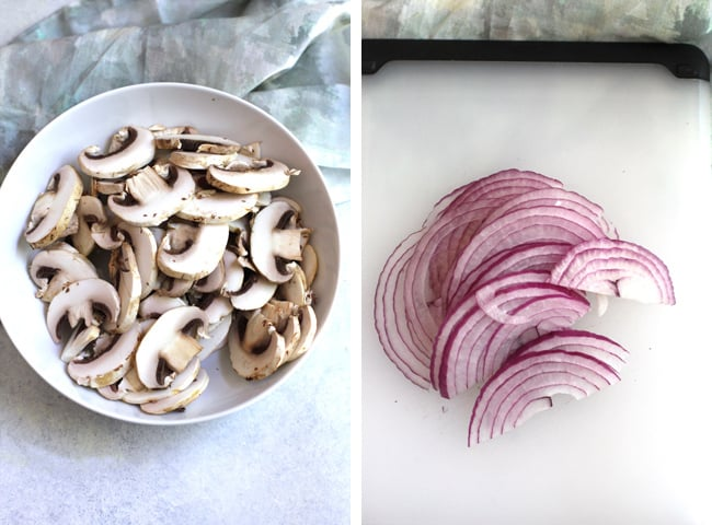 Process shots of 1) fresh sliced white mushrooms, and 2) sliced red onion.