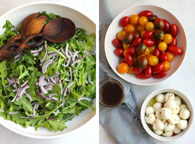 Collage of 1) a large bowl of arugula and red onion, and 2) a bowl of colorful cherry tomatoes, a bowl of marinated mozzarella balls, and a jar of dressing.