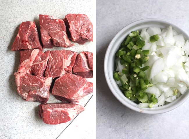 Collage of 1) cubed beef roast, and 2) diced onions and jalapeños.