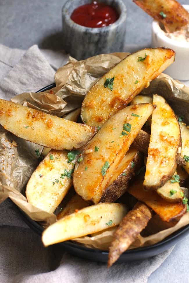 Close-up shot of baked home fries.