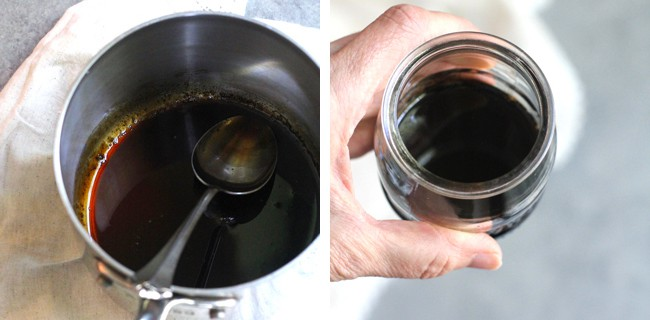 Collage of the balsamic glaze in the pan, and then my hand holding a small jar of it.