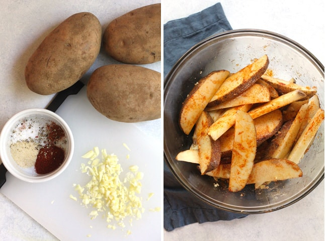 Collage of 1) the ingredients for home fries, and 2) the raw home fries in a glass bowl with seasonings.