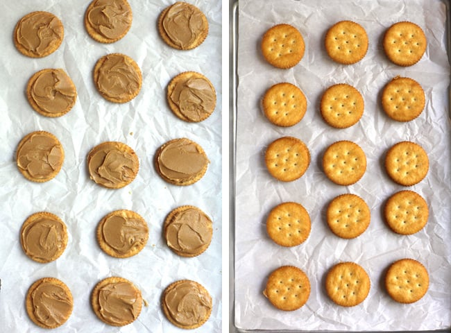 Collage of 1) the ritz crackers with peanut butter on top, and 2) the ritz crackers with pb sandwiched between.