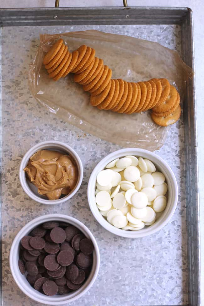 A gray tray full of the ritz cracker ingredients.