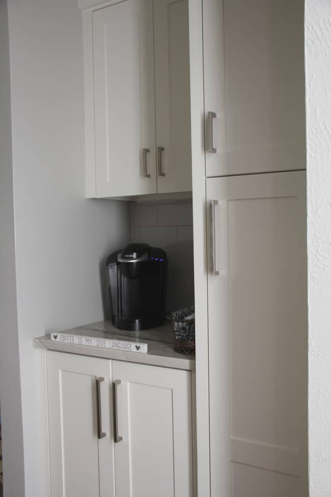 The coffee bar with our Keurig.
