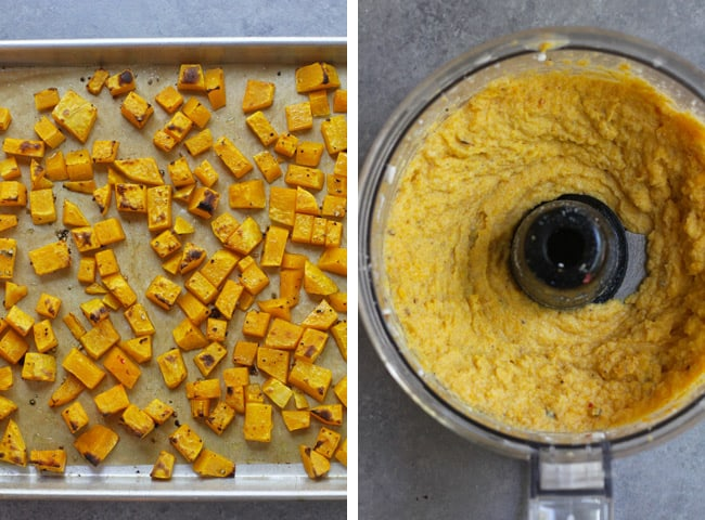 Collage of 1) the roasted chunks of butternut squash, and 2) the squash sauce in a food processor.