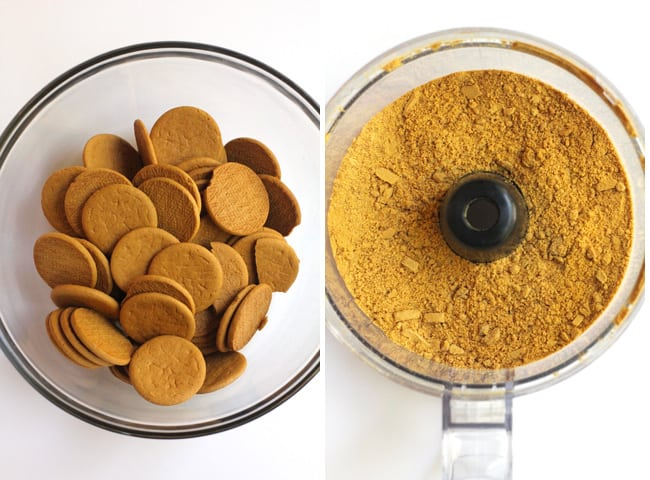 Collage of 1) the gingersnap cookies, and 2) a food processor with gingersnap crumbs.