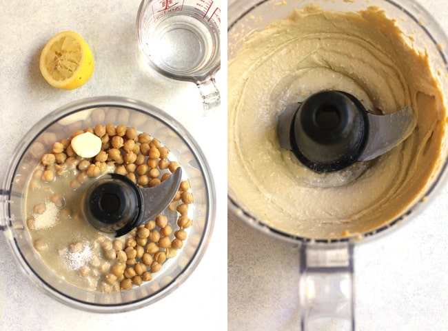Collage of 1) the hummus ingredients in a food processor, and 2) the creamy hummus after processing.