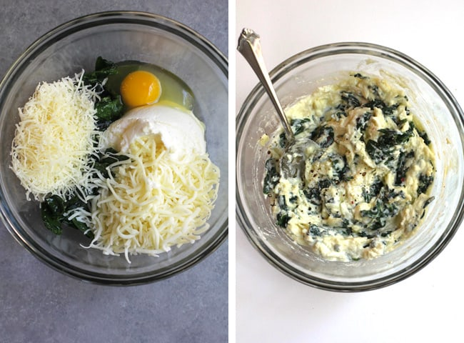 Collage of 1) the cheese and spinach ingredients, and 2) the combined cheese and spinach.