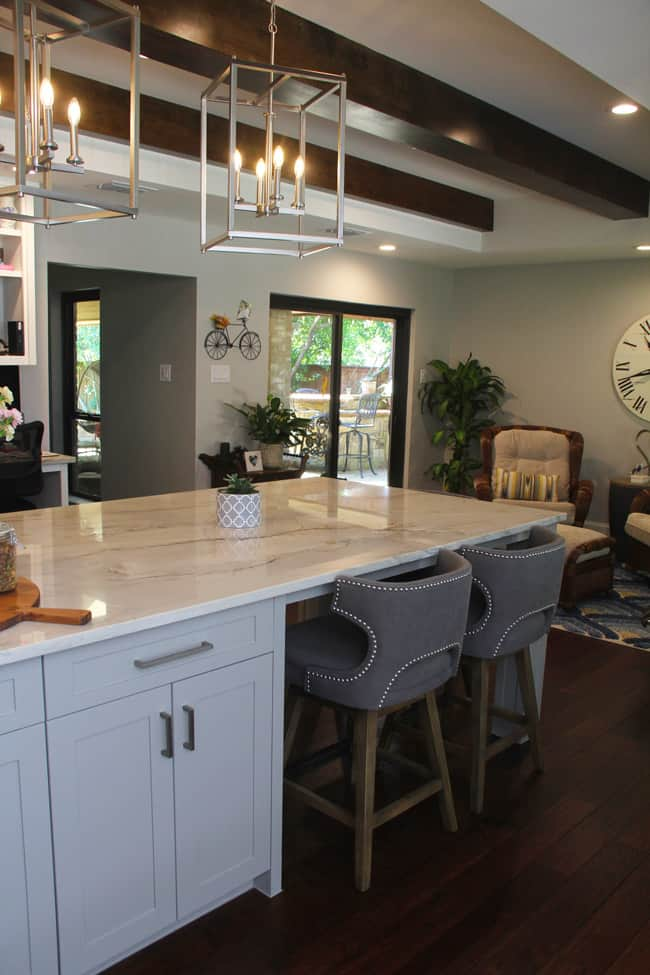 Another angle showing the kitchen island stools.