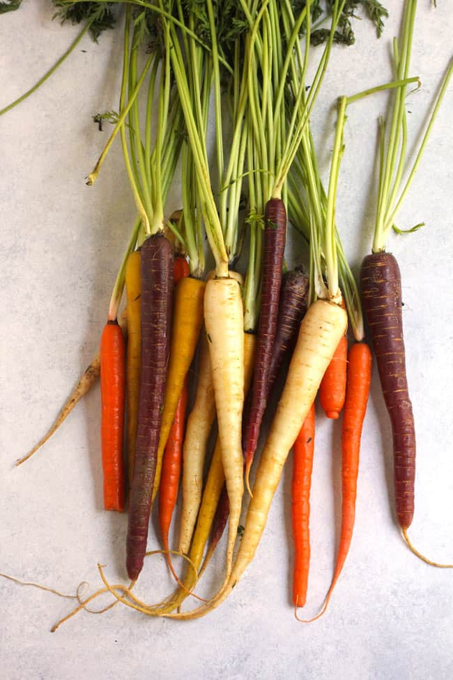 Overhead shot of a bunch of raw whole multi-colored carrots on a white background.