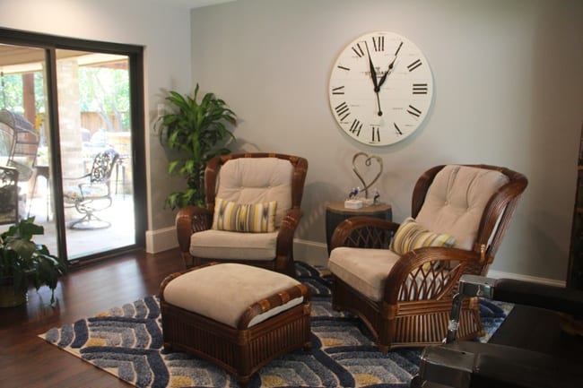 Another angle of the sunroom with the rocking chairs.
