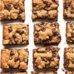 Overhead view of chocolate chip peanut butter blondies.
