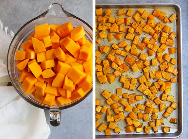Collage of 1) cubed butternut squash in a glass measuring cup, and 2) sheet pan of roasted butternut squash.
