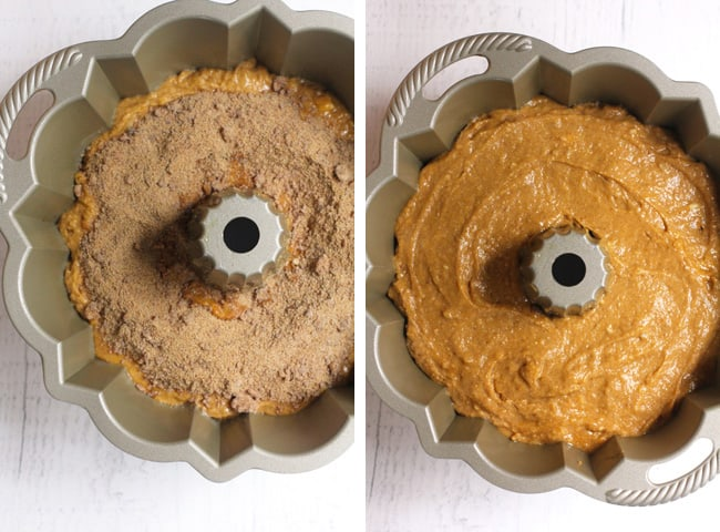 Collage of 1) the streusel layer on the pumpkin batter, and 2) the pumpkin batter on the streusel layer.