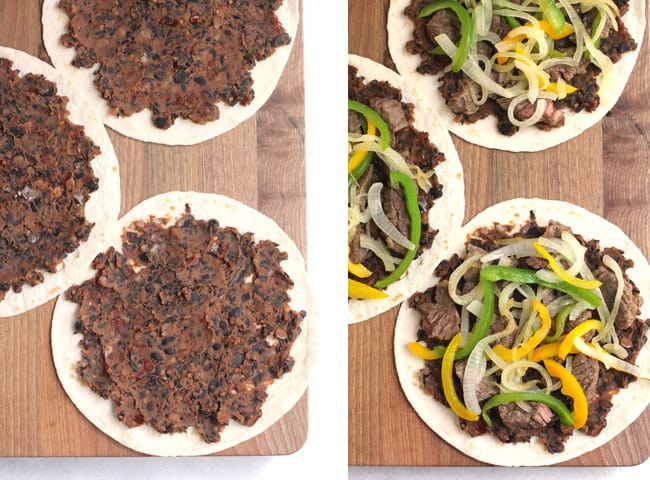 Collage of 1) the tortillas with the bean mixture spread out, and 2) the steak, onions, and peppers on the bean mixture.