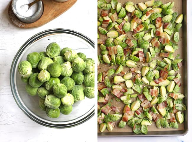 Collage of 1) a bowl of Brussels sprouts, and 2) a sheet pan of chopped Brussels sprouts and bacon on a sheet pan.