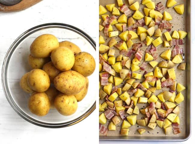 Collage of 1) yellow potatoes in a bowl, and 2) chopped yellow potatoes and bacon on a baking sheet.