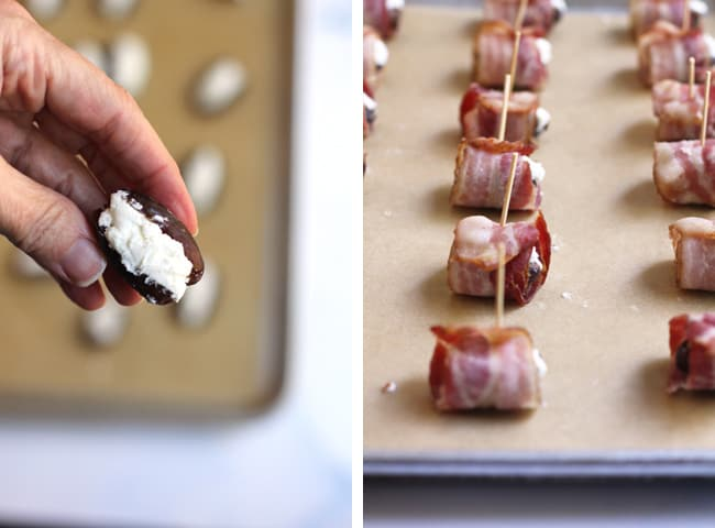 Collage of 1) hand holding a stuffed date, and 2) side shot of baking sheet with bacon wrapped dates ready to go in the oven.