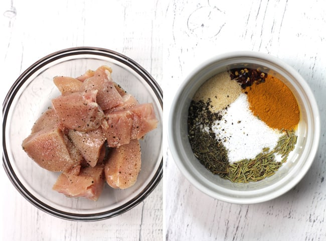 Collage of 1) the raw chicken, and 2) the spices.