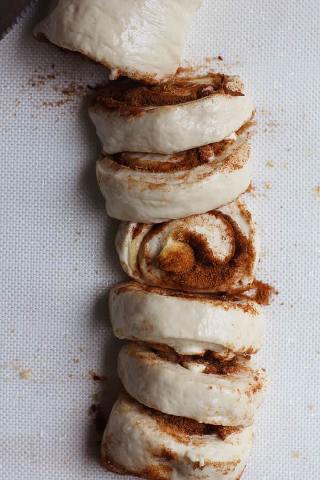 Overhead shot of the cinnamon roll dough in a log, cut into one inch sections.