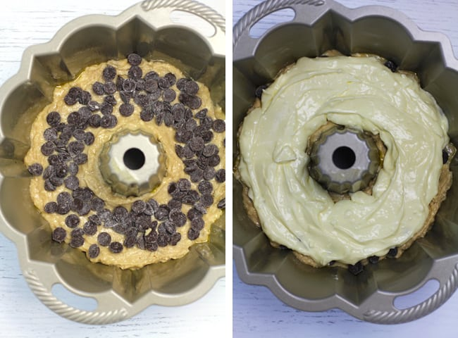 Collage of 1) a bundt cake with batter and chocolate chips, and 2) the cream cheese layer on top of the chocolate chips.