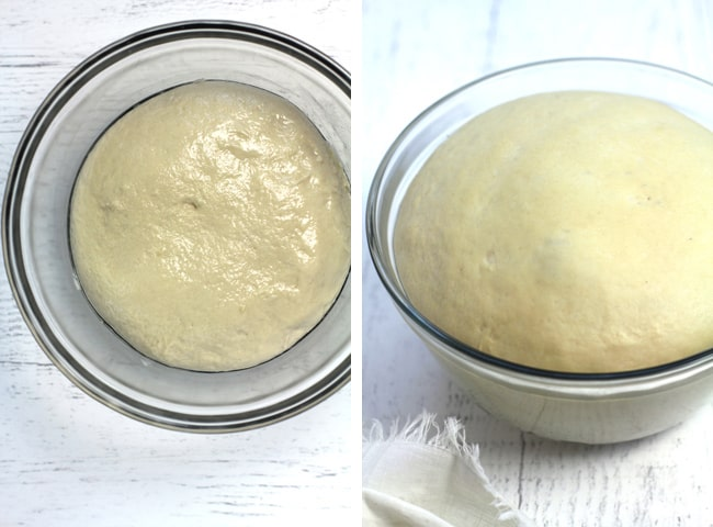 Collage of 1) naan dough in a glass bowl, and 2) naan dough in bowl after rising.