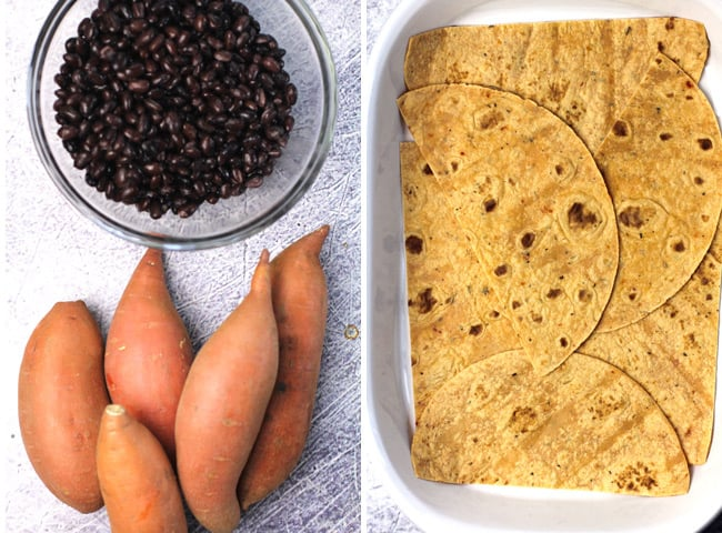 Collage of 1) whole sweet potatoes and a bowl of black beans, and 2) the tortilla layer in a casserole dish.