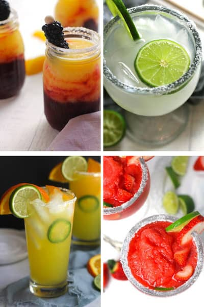 A collage of four margaritas - blackberry peach, classic skinny, orange jalapeno, and strawberry lemonade.