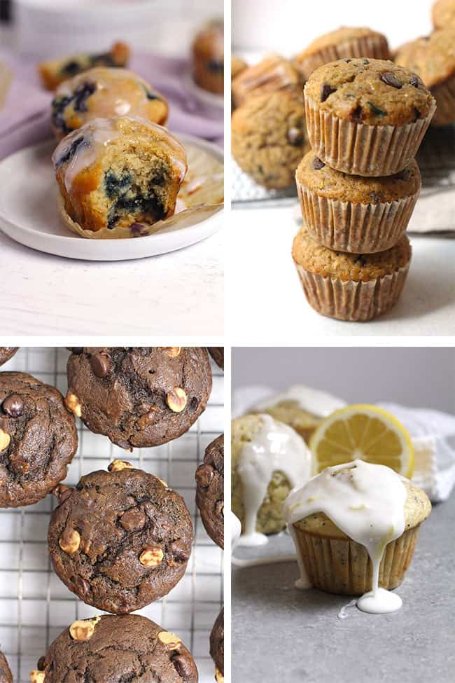 A collage of four muffin recipes - blueberry, chocolate zucchini, peanut butter chocolate banana, and lemon poppyseed.