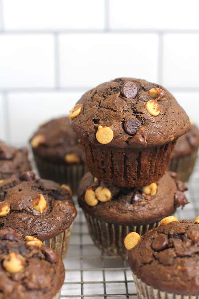 Side shot of some chocolate pb muffins with two stacked on top of each other.