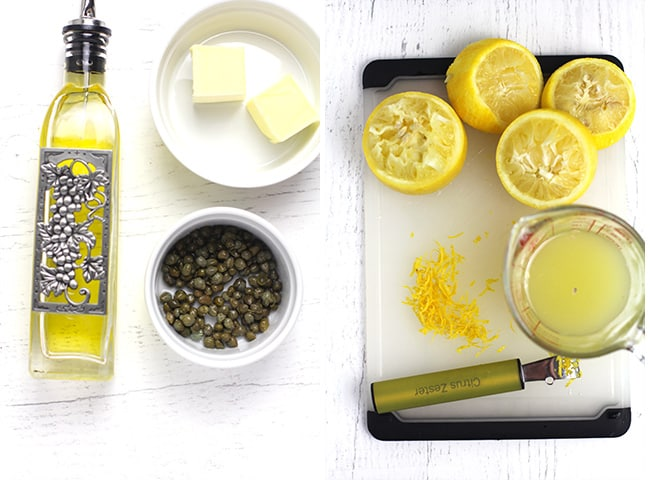 Collage of 1) olive oil, butter, capers, and 2) lemon juice and zest.