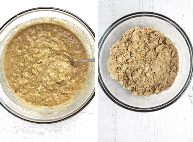Collage of 1) the banana cake mixture, and 2) the streusel topping.