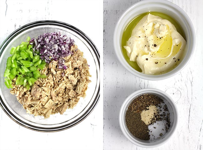 Collage of 1) the tuna with celery and onion, and 2) bowl of the seasonings and the dressing.
