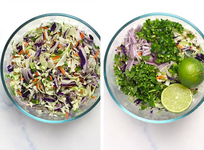 Collage of 1) the slaw and the 2) the ingredients.