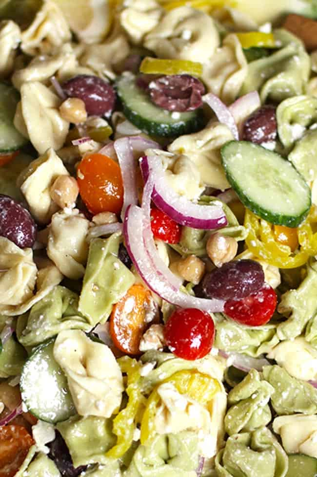 Closeup on the Greek Tortellini Pasta salad.