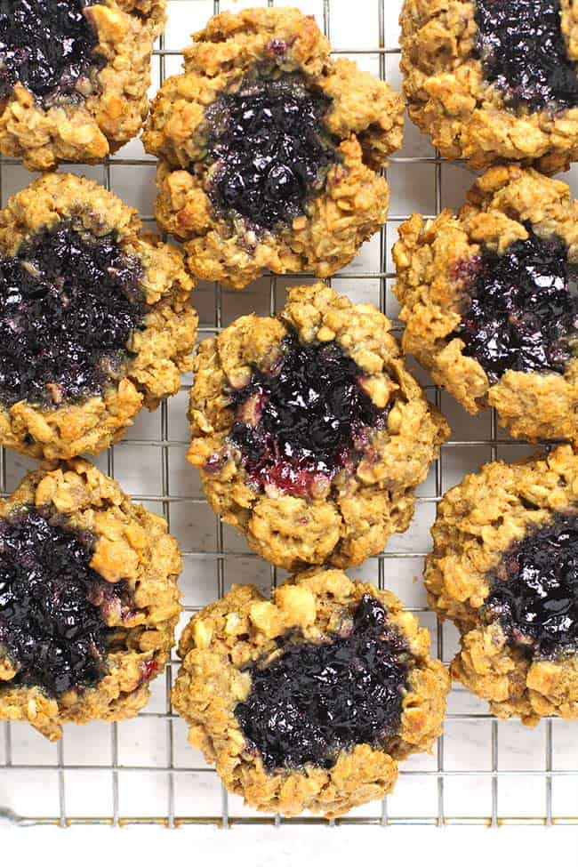Overhead shot of a bunch of healthy oatmeal breakfast cookies, on a wire rack.