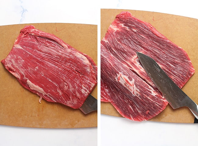 Collage of the flank steak being butterflied.