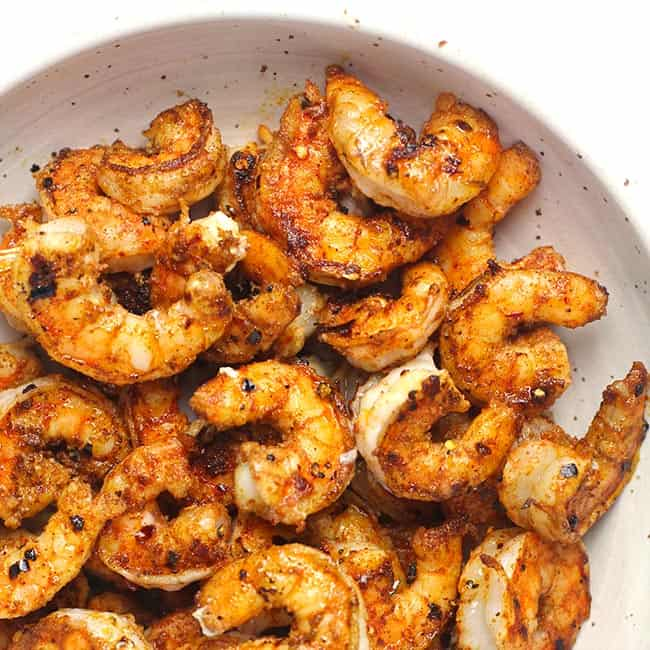 Closeup of grilled shrimp.