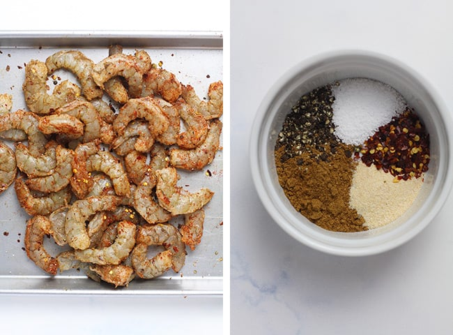 Collage of 1) spiced raw shrimp and 2) the spice mix.