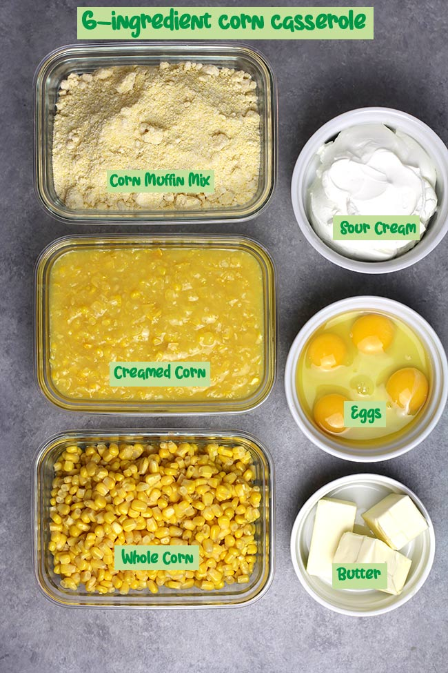 All six ingredients in individual bowls on a gray surface, with labels.