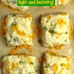 Closeup of jalapeño cheddar biscuits.