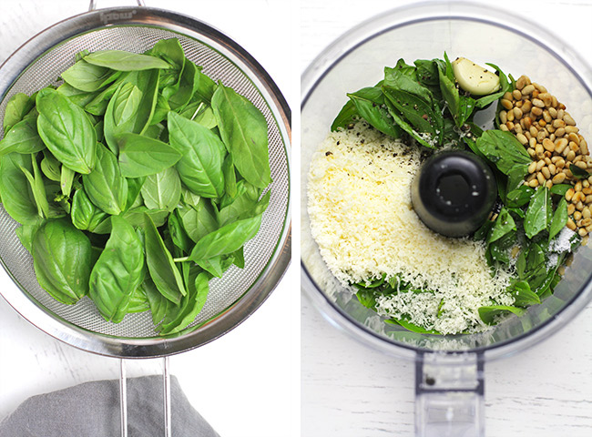 Collage of 1) the fresh basil and 2) the food processor with the pesto ingredients.