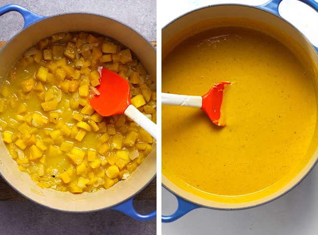 Collage of 1) the cooked cubes of squash and 2) the cooked sauce.