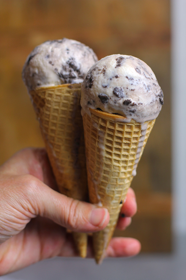 My hand holding two cookies and cream ice cream, with some melting going on.