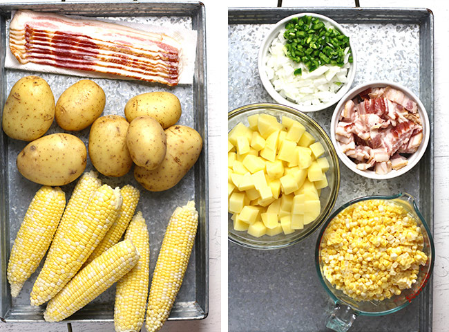 Collage of 1) the chowder ingredients and 2) the chopped ingredients.